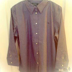 New Ralph Lauren Navy & White Striped Oxford XL